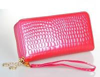 Женский кошелек Рептилия на двойной молнии большой розовый, фото 1