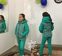 Мятная детская куртка зима с принтом. Арт-1531