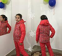 Коралловая  детская куртка зима с принтом. Арт-1531
