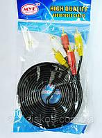 Аудио-видео кабель, MYE Audio/Video cable, тюльпан — тюльпан, 3RCA-3RCA, 3м