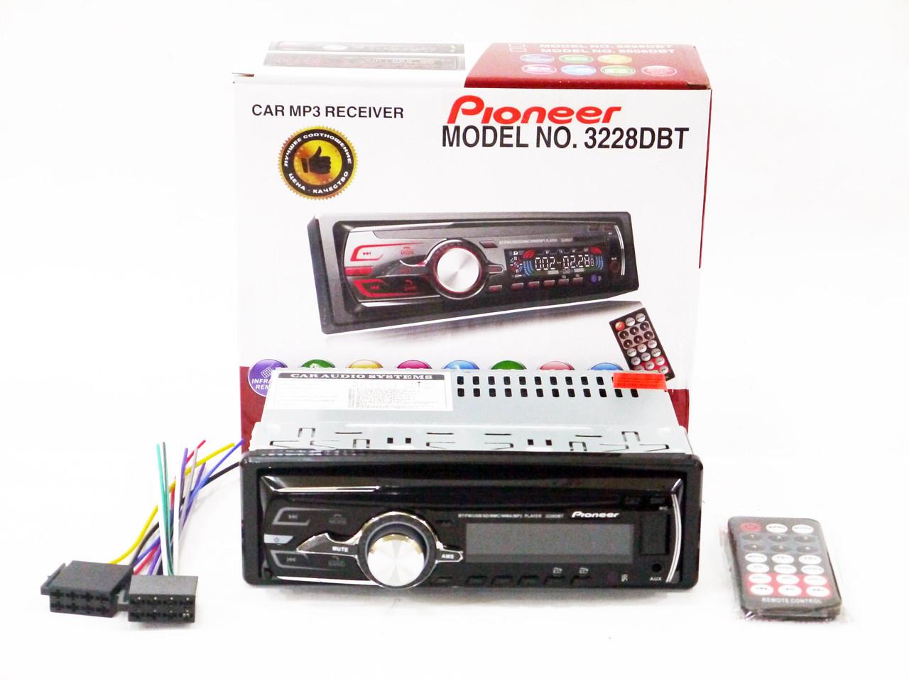 Автомагнитола Pioneer 3228 DBT Bluetooth - Usb+RGB подсветка+Fm+Aux+ пульт