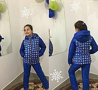 Ярко синяя  детская куртка зима с принтом. Арт-1531