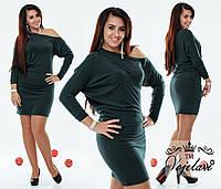 Короткое платье со стразами свободного силуэта (батал)