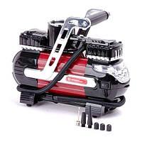 AC-0003 Компрессор автомобильный 12В. Два цилиндра + Подарок BX-9005 Сумка инструментальная 16 карманов INTERTOOL AC-0003.A
