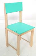 Детский стул со спинкой из натурального дерева (сосна) 24 см Салатовый