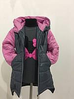 Серая  зимняя детская куртка с розовыми рукавами. Арт-1532