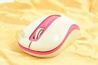 Мышка компьютерная беспроводная + радио ST106 белый+розовый