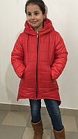 Коралловая  зимняя детская куртка с принтом белый горох. Арт-1532