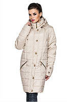 Демисезонная женская куртка большого размера цвет бежевый (р. 52-58 )
