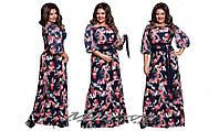 Длинное женское платье масло трикотаж + рукав шифон размеры 50-56