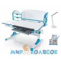 MEALUX Evo-720 WB - столешница белая / ножки белые с синим
