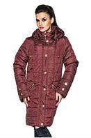 Демисезонная женская куртка большого размера цвет бордовый (р. 52-58 )