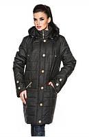 Демисезонная женская куртка большого размера цвет черный (р. 52-58 )