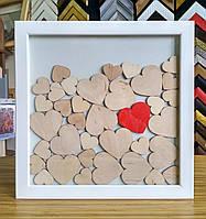 Рамка для пожеланий на 35 сердец (31х31 см, липа белая)