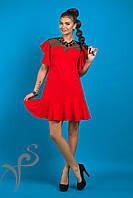 Красивое красное платье с сеткой Валери