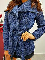 Пальто женское короткое с поясом на подкладке букле Gdi73, фото 1