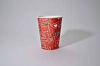 "Стакан бумажный  250мл ""I Love You""  50шт (48/2400) Красный"