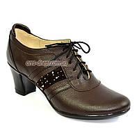 """Туфли женские коричневые кожаные на каблуке с замшевыми вставками. ТМ """"Maestro"""""""