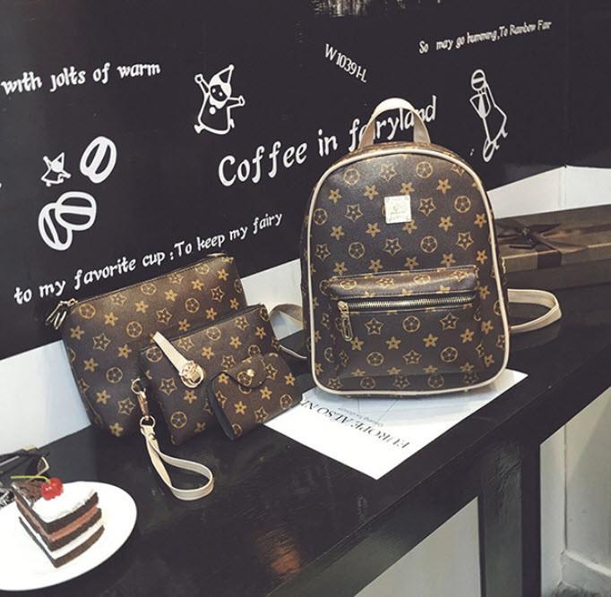 Подарочный набор для модных девушек Рюкзак, клатч, косметичка, визитница