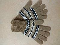 Женские теплые шерстяные перчатки на резинке р. M, коричневые