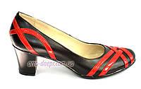 Черные кожаные женские туфли на каблуке с плетением из красной лаковой кожи. 38 размер
