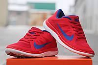 Nike Free Run 4 0 женские кроссовки красные с синим