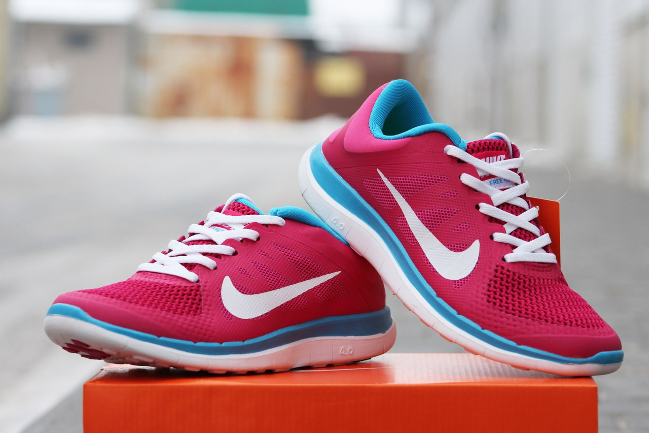8dee029a Nike Free Run 4 0 женские кроссовки розовые с голубым (Реплика ААА+) ...