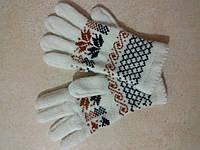 Женские теплые шерстяные перчатки с орнаментом р. S, белые