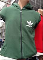 Спортивная трикотажная толстовка на молнии с капюшоном Adidas  (Арт. 2706)