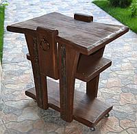 Журнальный стол на колесиках с кованными элементами