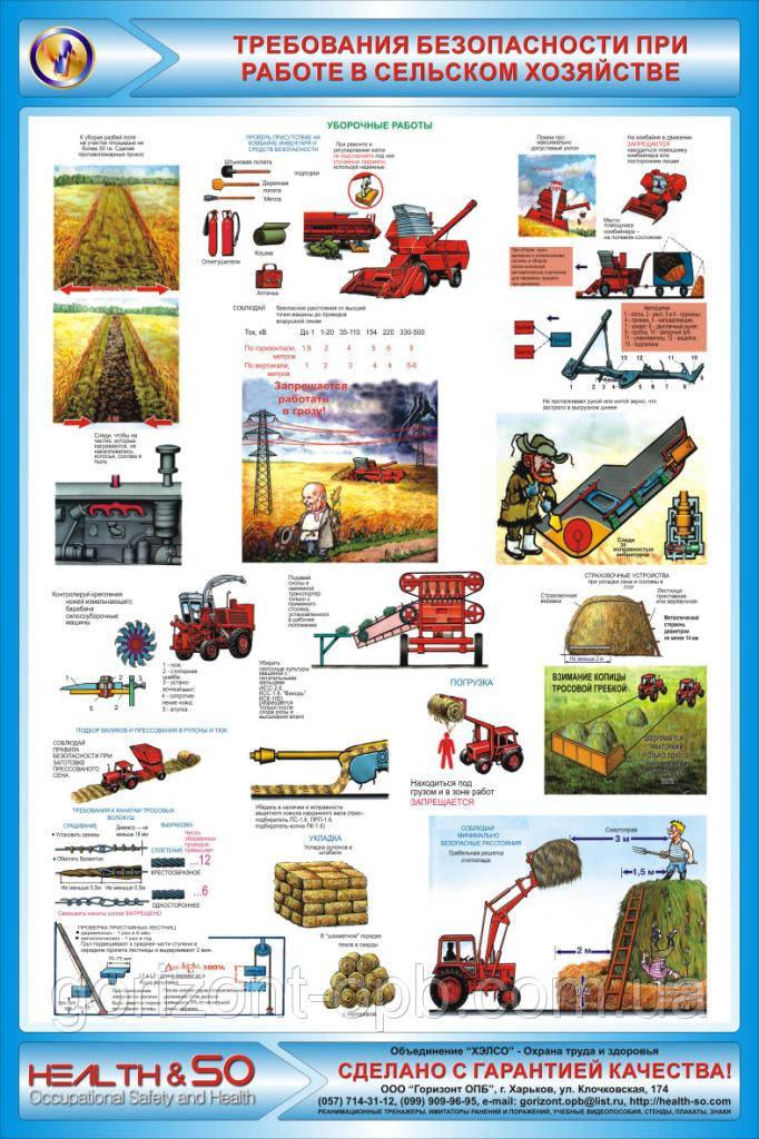 Стенд по охране труда «Требования безопасности при работе в сельском хозяйстве» №2