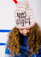 Детская шапка РИЛЕ для девочек оптом размер 50-52-54, фото 1
