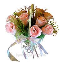 Розовые розы в корзине, фото 1