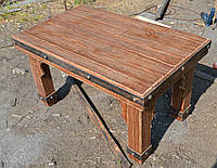 Деревянный стол под старину с кованными элементами