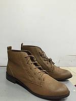 Ботинки женские демисезонные на шнурках светло-коричневые на низком ходу Pull@Bear