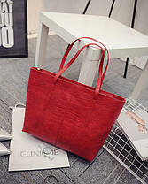Вместительная городская сумка под крокодил, фото 3