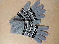Женские теплые шерстяные перчатки на резинке р. M, голубые