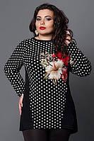Женская туника-кофта 273-3, красный  цветок, размер 52,54,56,58, фото 1