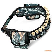 Ремень-патронташ открытый с карманами Волмас, камуфлированый, на 44 патрона