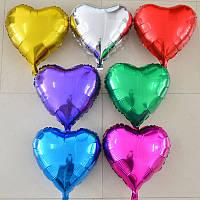 Фольгированное сердце без рисунка (45 см) Цвета на выбор