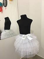 Стильная детская юбка-пачка в нежно белом цвете. Арт-1538