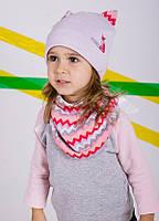 Детская шапка (набор) ФОКСИ для девочек оптом размер 46-48-50