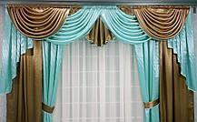 """Готовый ламбрекен + шторы """"Жаклин""""- Атлас -коричневый+голубой, фото 3"""