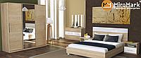 Соната кровать 160 с каркасом глянец белый-дуб сонома