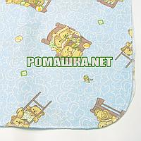 Детская фланелевая пелёнка 110х90 см (фланель, байковая, байка) теплая для пеленания 3265 Голубой2