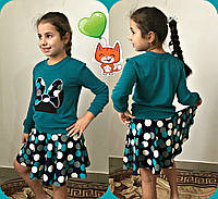 """Модный зелёный детский юбочный костюм """"Микки тень"""". Арт-1540"""