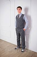 Жилет для мальчика школьный серый, фото 1