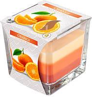 Ароматические трехцветная свеча в стакане Апельсин
