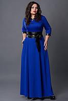 Длинное платье мод 506-1, електрик, размеры 52-54,54-56, фото 1