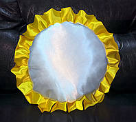 Подушка атласная круг, рюш желтый